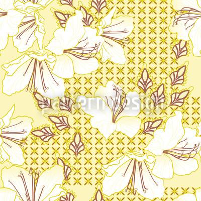 Orientalische Blüten Vanille Rapportmuster