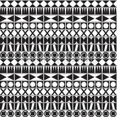Tribal Monochrome Repeating Pattern