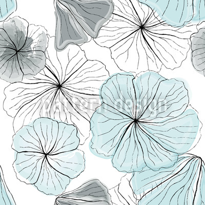Hibiscus Blossoms Aqua Vector Ornament