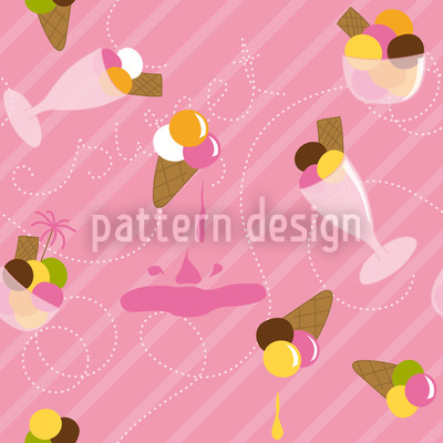 Strawberry Gelato Seamless Vector Pattern Design