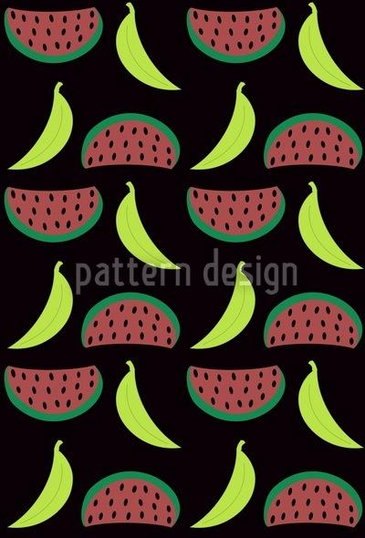 Bella Banana Trifft Manni Melone Vektor Muster