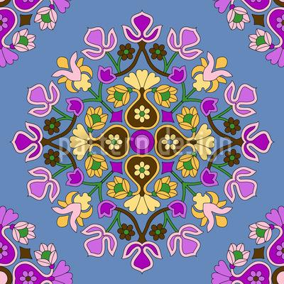 Orientalische Blüte Nahtloses Vektormuster