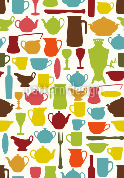 Tiffanys Tableware Collection Seamless Vector Pattern Design