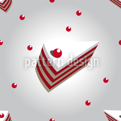 Cherry Cream Cake Seamless Pattern