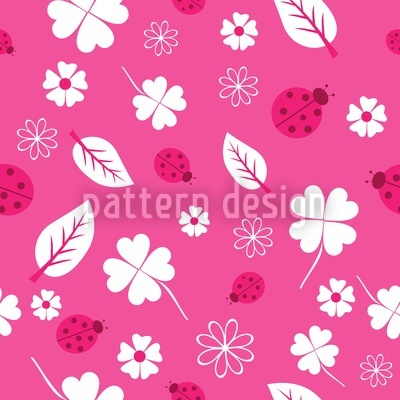 Ladybugs And Clover Seamless Vector Pattern Design