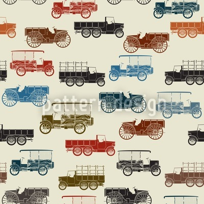 Vintage Cars Seamless Vector Pattern Design