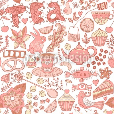 Tea Party In Wonderland Seamless Vector Pattern Design