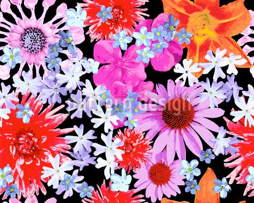 Sommerblumen Rapportiertes Design
