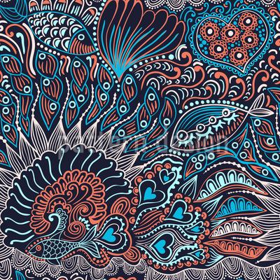 Reefgarden At Night Seamless Vector Pattern Design