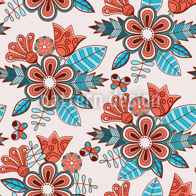 Late Summer Flowers Vector Ornament