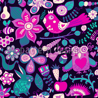Valentines Day In The Magic Forest Pattern Design