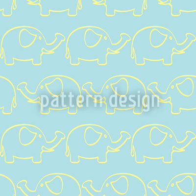 Elephant March Seamless Vector Pattern Design