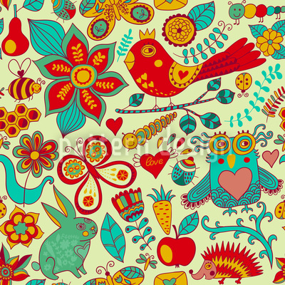 Summer In The Magic Forest Seamless Vector Pattern Design