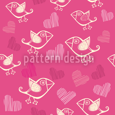Birdie In Love Vector Ornament