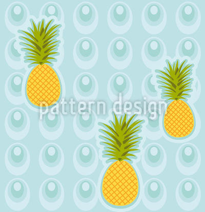 Pineapple In The Whirlpool Seamless Vector Pattern Design