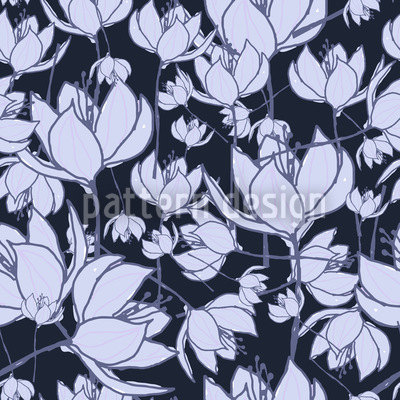 Crocus Night Seamless Vector Pattern Design