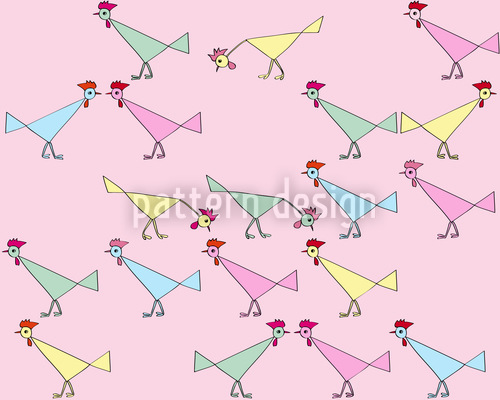 Chicken Community Vector Pattern