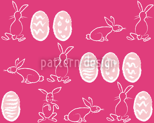 Easter Bunnies In Panic Seamless Vector Pattern Design