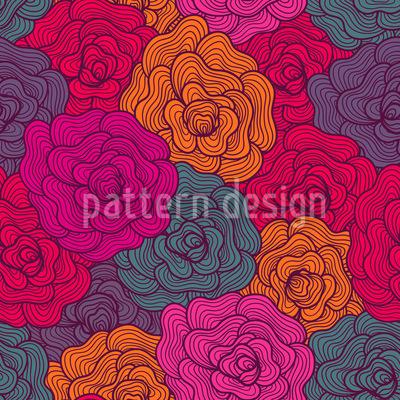 Crochet Roses Seamless Vector Pattern