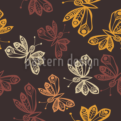 Butterflies In Autumn Seamless Vector Pattern Design