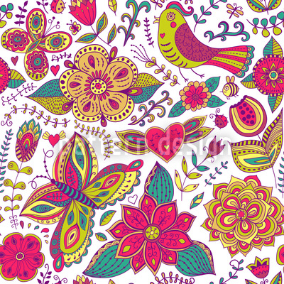 Fauna And Flora Are In Love Vector Pattern