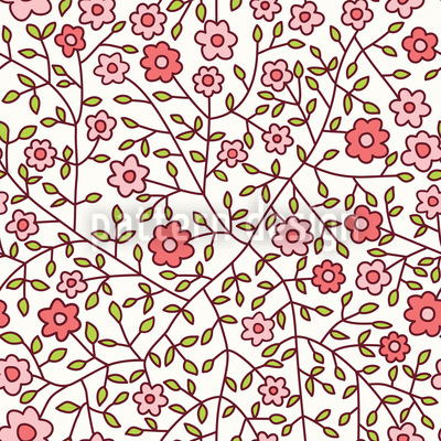 Wild Roses In The Garden Repeating Pattern