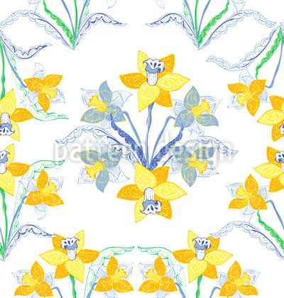 Artful Daffodils Seamless Vector Pattern Design