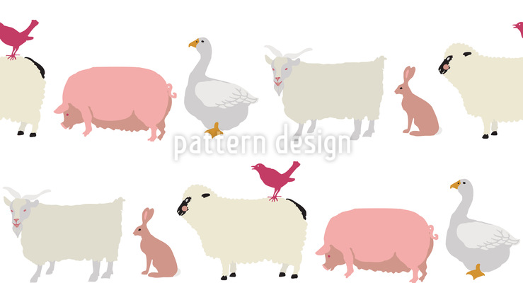 Animals In Single File Repeating Pattern