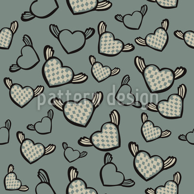 Flying Chess Master Hearts Seamless Vector Pattern