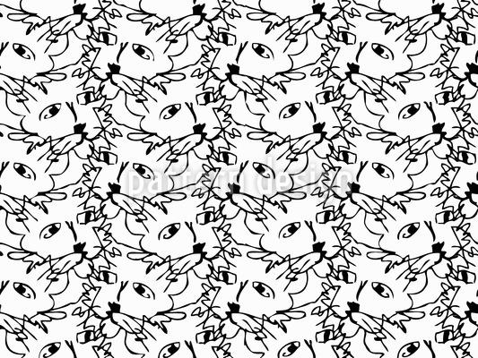 Frisky Cats Seamless Vector Pattern Design