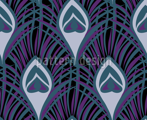 Nocturnal Peacock Feathers Seamless Pattern
