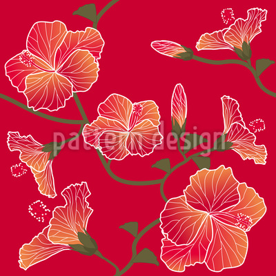 Red Hibiscus Pattern Design