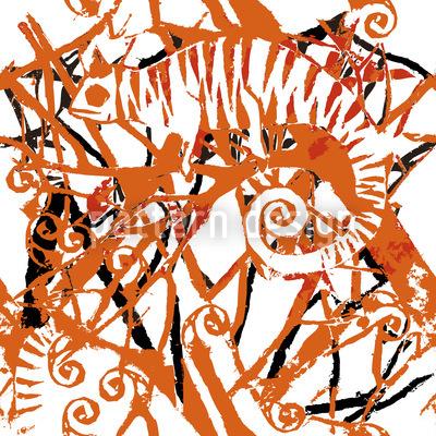 カメレオンオレンジ シームレスなベクトルパターン設計