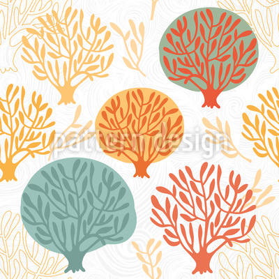 Tree Nursery In Autumn Seamless Vector Pattern Design
