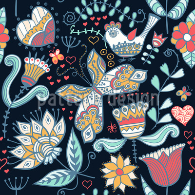 When Katja Dreams At Night Seamless Vector Pattern Design