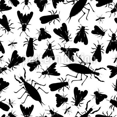 Edgar Allans Insekten Sammlung Nahtloses Vektormuster