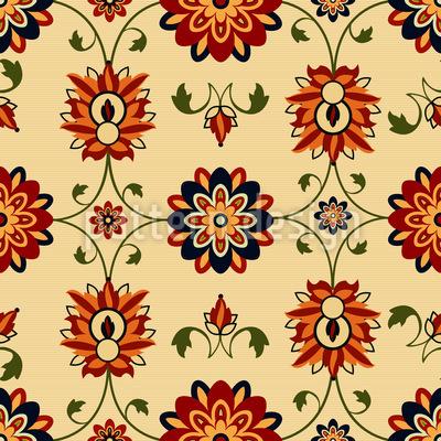 Wall Flower Damask Seamless Pattern