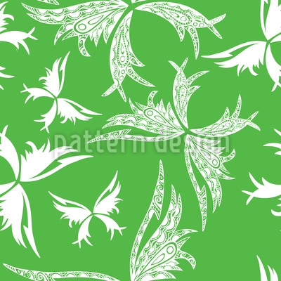 Polynesian Butterflies In Spring Vector Pattern