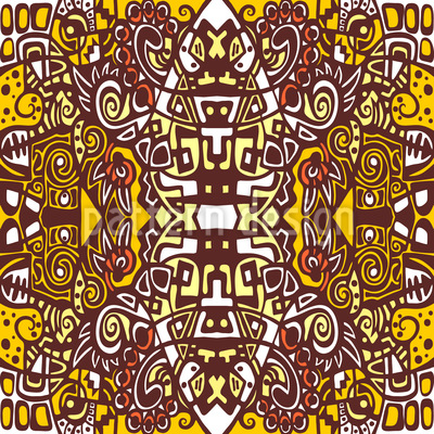 In The Aztec Temple Seamless Vector Pattern Design