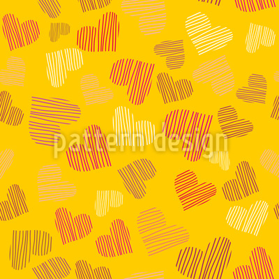 Fine Lined Sunshine Hearts Seamless Vector Pattern