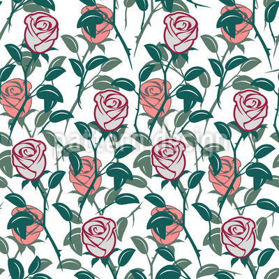 En The English Rose Garden Estampado Vectorial Sin Costura