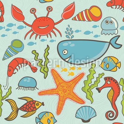 Happy Ocean Party Vector Pattern