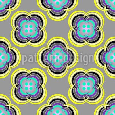 Button Flowers Seamless Pattern