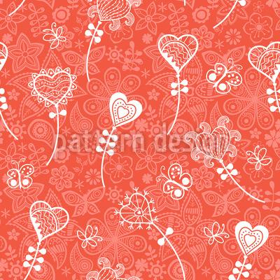 Fantasia Cuore Fiore disegni vettoriali senza cuciture
