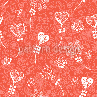 Herzblumen Fantasie Nahtloses Vektor Muster