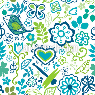 Awakening In Spring Gardens Seamless Vector Pattern Design