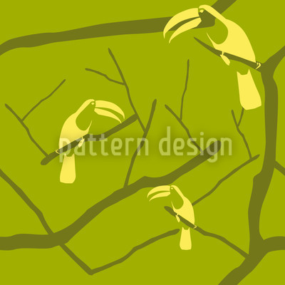 Tucan Green Seamless Vector Pattern