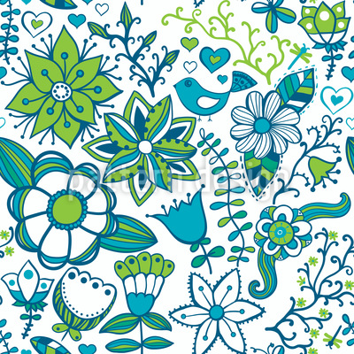 Cool Paradise Flowers Seamless Vector Pattern Design