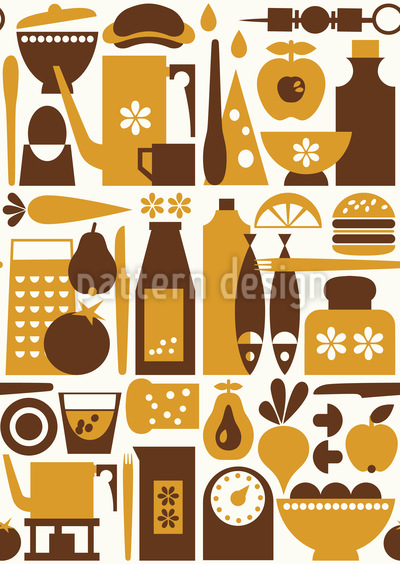 Grannies Pantry Seamless Vector Pattern Design