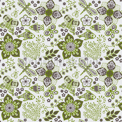 Fantasies In Spring Seamless Vector Pattern